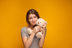 Girl with plush teddy bear. Happy smiling Girl with plush teddy bear Stock Image