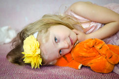 Girl with plush toy Royalty Free Stock Images