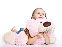 Girl with plushies Stock Image