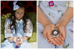 Girl with pocket watch Royalty Free Stock Image