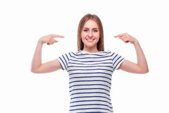 Girl pointed on herself Royalty Free Stock Photo