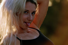 The girl pointed tongue Stock Photos