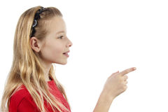 Girl is pointing Royalty Free Stock Photography
