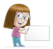 Girl pointing a blank sign Stock Image