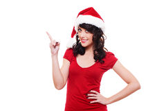 Girl pointing at empty copyspace Royalty Free Stock Image