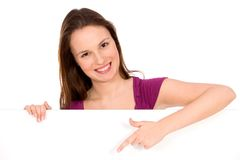 Girl pointing finger Royalty Free Stock Photo