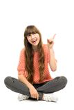 Girl pointing finger Stock Photo