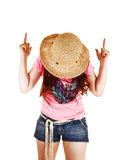 Girl pointing finger. Royalty Free Stock Images