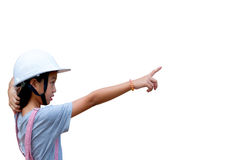 Girl pointing finger : Girl wear hat engineers are pointing. Royalty Free Stock Photos