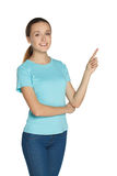 Girl pointing finger Royalty Free Stock Photos