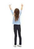 Girl pointing fingers at something invisible Royalty Free Stock Photo