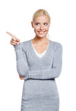 Lady pointing with forefinger Stock Image