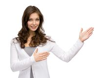 Girl pointing hand gesture Royalty Free Stock Photography