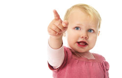 Girl pointing her finger Royalty Free Stock Photo
