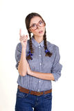 Girl  pointing her finger up Stock Image