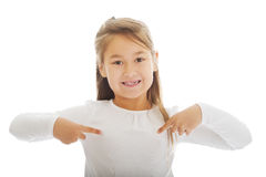 Girl pointing herself Stock Images