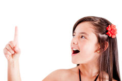 Girl pointing an idea Royalty Free Stock Image