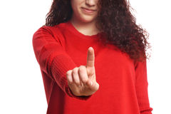 Girl pointing with index finger Royalty Free Stock Image