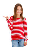 Girl pointing isolated on white background royalty free stock photos