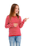 Girl pointing isolated on white background Royalty Free Stock Image