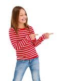 Girl pointing isolated on white background Stock Photo