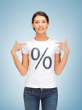 Girl pointing at percent sign Stock Photos