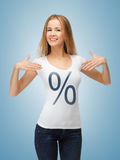 Girl pointing at percent sign Stock Images
