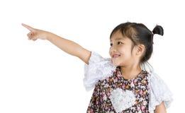 Girl pointing at something Stock Image