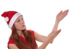 Girl pointing on something Stock Photos