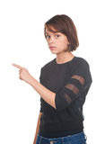 Girl pointing at something Royalty Free Stock Photography