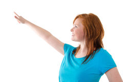 Girl pointing at something Stock Photography