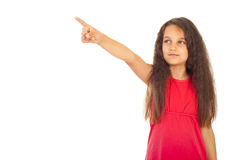 Girl pointing somewhere Stock Photo