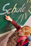 Girl pointing to the blackboard Stock Image