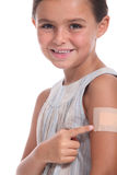 Girl pointing to a plaster Stock Image