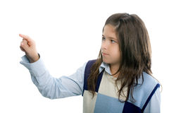 Girl pointing to something Royalty Free Stock Photos