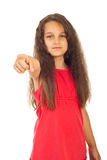 Girl pointing to you Stock Images