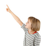Girl pointing up Royalty Free Stock Image