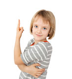 Girl pointing up Stock Photo