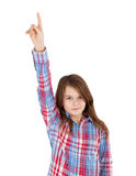Girl pointing up Stock Image