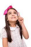 Girl pointing up Royalty Free Stock Photo