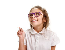 Girl pointing up Royalty Free Stock Photography