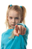 Girl is pointing at you Royalty Free Stock Image