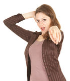 Girl pointing you Royalty Free Stock Photo