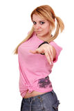Girl pointing at you Stock Photo