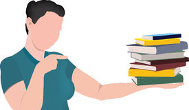 Girl points and holds books Stock Photos