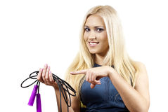 Girl points to a rope isolated Stock Photo