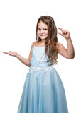 Girl points to the small size Royalty Free Stock Photo