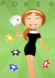 Girl with poker of aces Royalty Free Stock Image