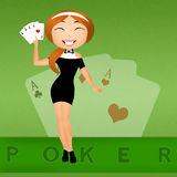 Girl with poker cards Royalty Free Stock Photography