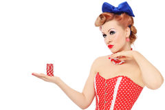 Girl with poker chips Royalty Free Stock Photos